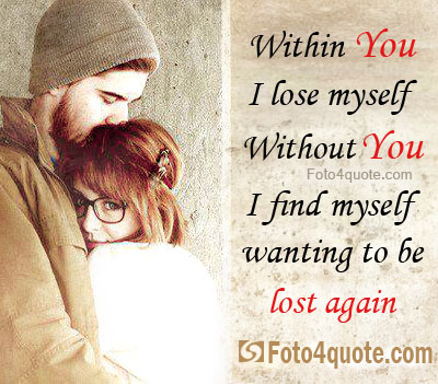 Hugging Couple With Romantic Love Quotes For Him And Her Image