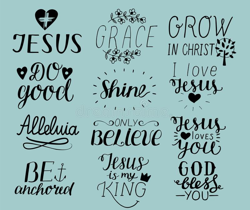 Download Set Of  Hand Lettering Christian Quotes I Love Jesus Grace Bless
