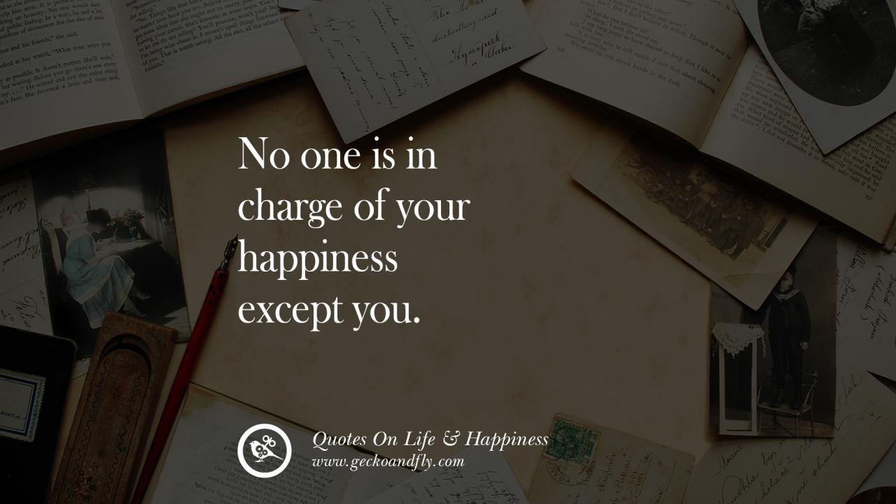 No One Is In Charge Of Your Happiness Except You Happy Life Quote Quotes