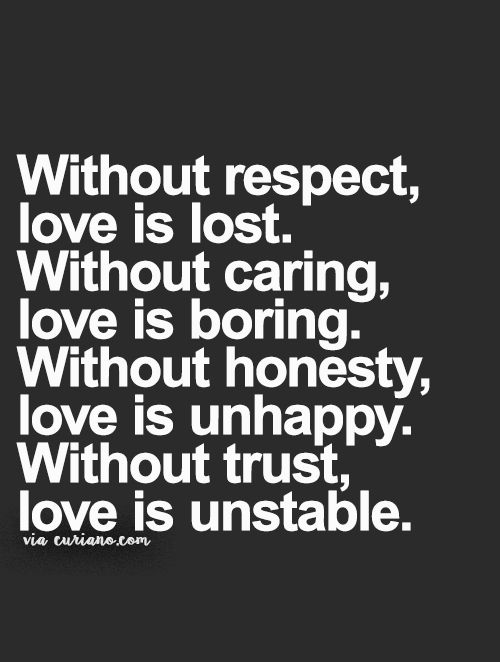 Without Respect Love Is Lost Without Caring Love Is Boring Without Honesty Love Is Unhappy Without Trust