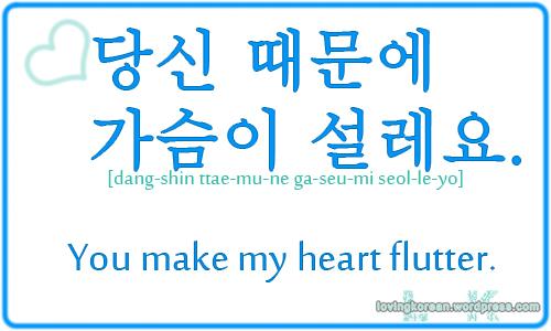 You Make My Heart Flutter In Korean