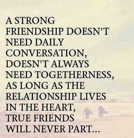A Strong Friendship Doesnt Need Daily Conversation Doesnt Always Need Togetherness As Long As The Relationship Lives In The Heart True Friends Will