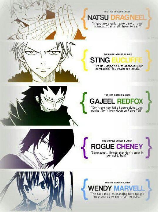 Quotes From The Dragon Slayers Natsu Dragneel Wendy Marvel Gajeel Redfox Sting  C B