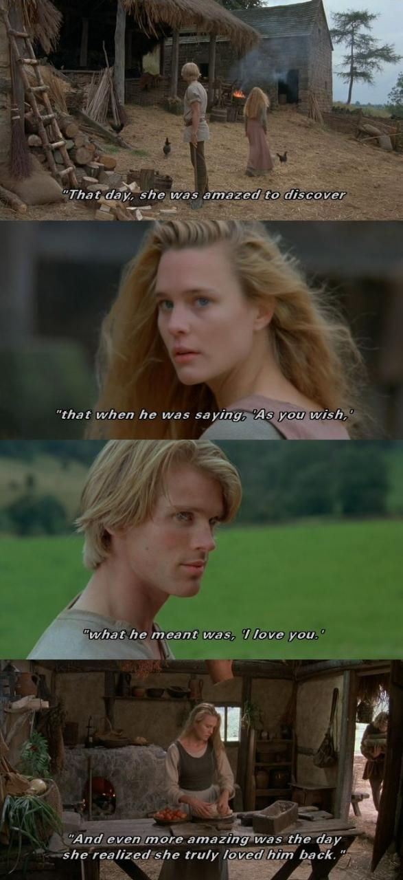 That Day She Was Amazed To Discover That When He Was Saying As You Wish What He Meant Was I Love You The Princess Bride