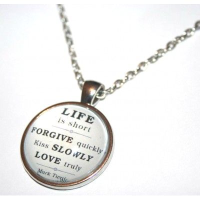 Life Is Short Quote Cabochon Necklace