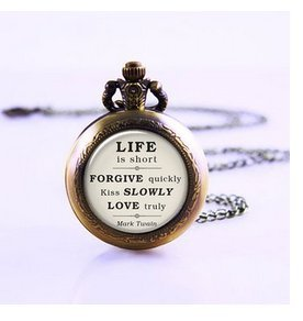Mark Twain Quote On Life Love Forgiveness Inspirational Quote Jewelry Pocket Watch