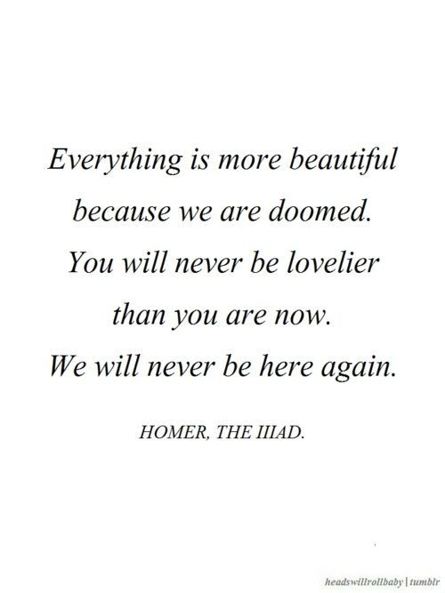 Homer The Illiad Quote Everything Is Beautiful Because We Are Doomed You Will Never Be Lovelier Than You Are Now We Will Never Be Here Again
