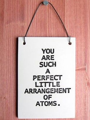 You Are Such A Perfect Arrangement Of Atoms Ceramic Art Plaque Love Quote Saying