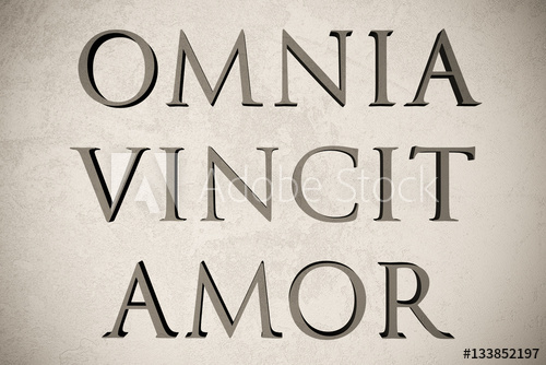 Latin Quote Omnia Vincit Amor On Stone Background D Il Ration Meaning