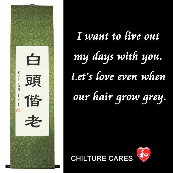 Grow Old Together Chinese Love Quotesigraphy Wall Scroll Chinese Igraphy Art For Sale Online