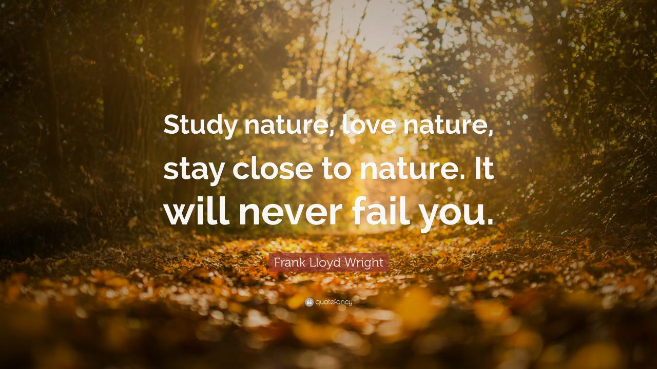 Frank Lloyd Wright Quote Study Nature Love Nature Stay Close To Nature