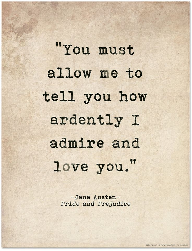 How Ardently I Admire And Love You Pride And Pre Ce Jane Austen Literary Print By