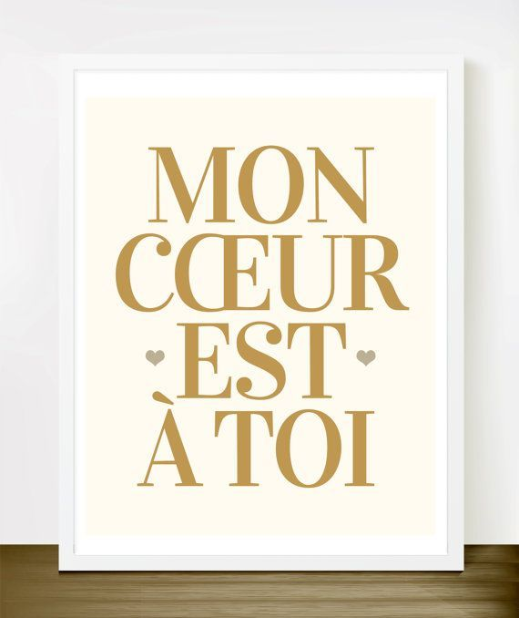 My Heart Is Yours French Print In Faux Gold Brown And Light Cream Paris Love Quote