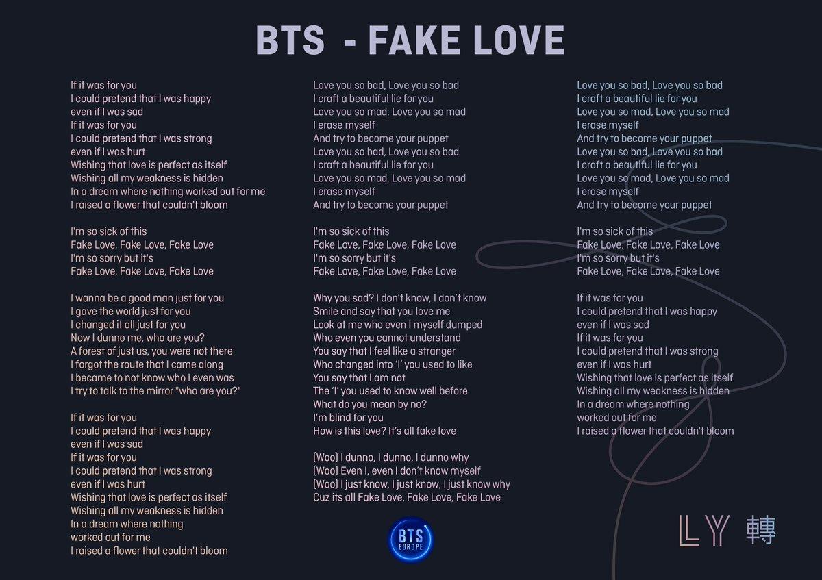Bts Europe  F F F B  F F C  On Twitter Bts Fake Love English Translated Lyrics Watch Bts_twt Fake Love  E   Https T Co Tqtbvjlj Fakelovefriday