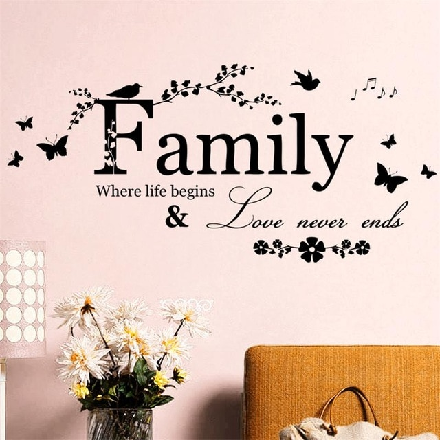 Family Love Never Ends Warm Quote Home House Wall Decal Stickers Flora Butterfly Bird Music Decoration