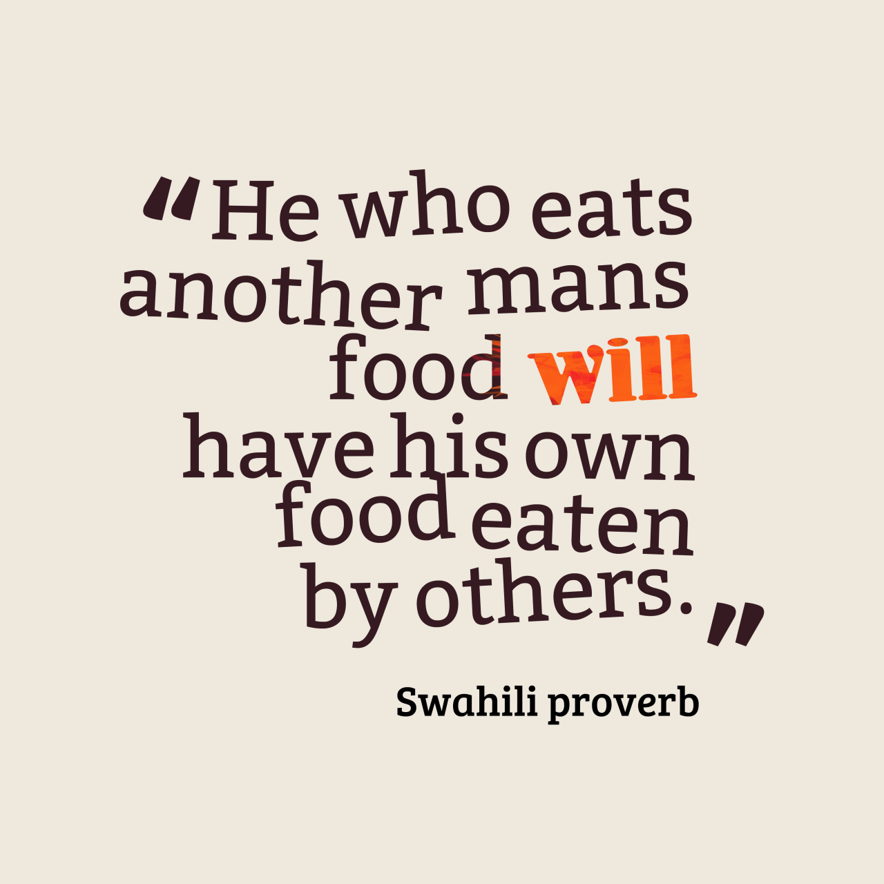 Swahili Proverb About Food