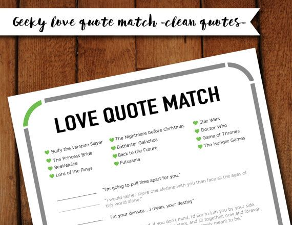 Clean Geeky Nerdy Love Quote Matchup Printable Bridal Shower Game Instant Download Pdf Clean Quotes