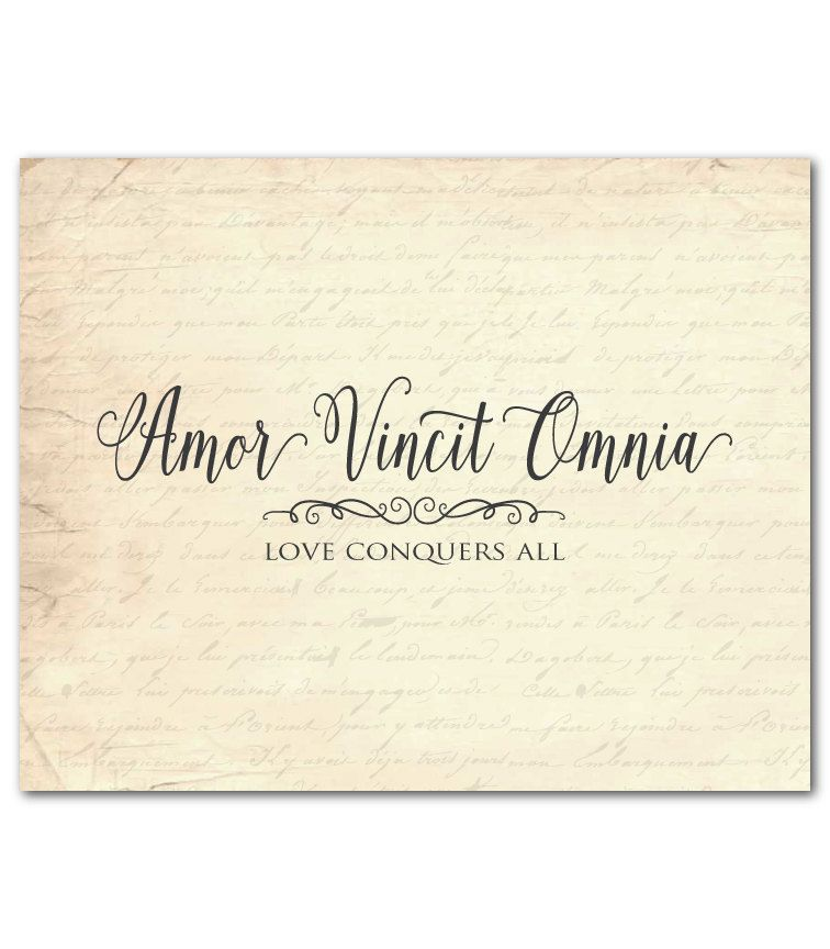 Amor Vincit Omnia Love Conquers All Quote Latin Inspirational Print Anniversary Wedding Gift Wall Decor Gift For Couple