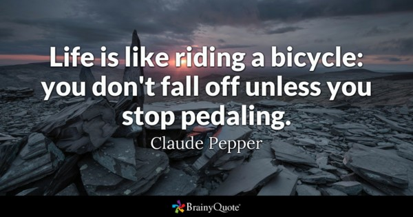 Life Is Like Riding A Bicycle You Dont Fall Off Unless You Stop