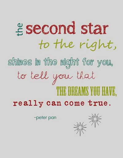 The Second Star To The Right Shines In The Night For You To Tell You That The Dreams You Have Really Can Come True Cute Peter Pan Sayings