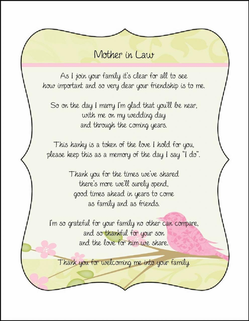 Mother In Law Poem Card Great Addition To A Personalized Wedding Handkerchief   Via Etsy