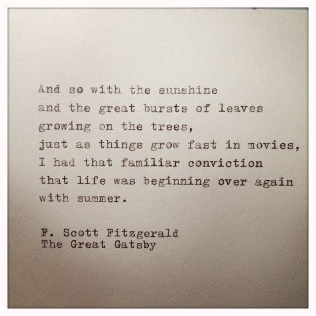 The Great Gatsby Quote Typed On Typewriter By Farmnflea
