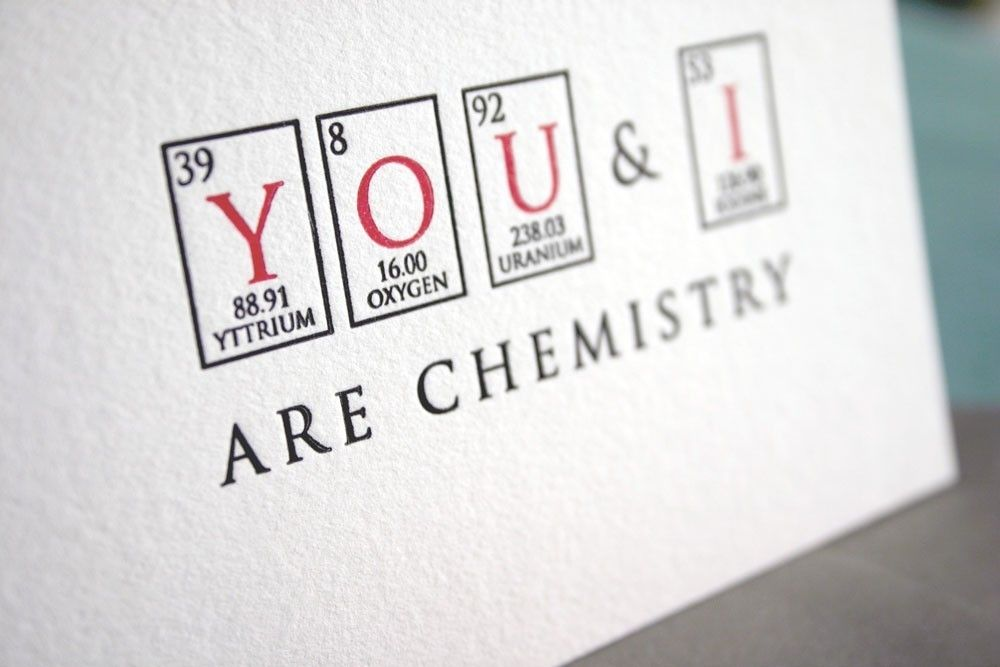 You And I Are Chemistry Letterpress Card Nerd Love Series Chemistry Quotesattraction Quotes Chemistryscience