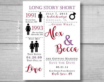 Cute Save The Date Love Story Funny Save The Date Funny Wedding Card