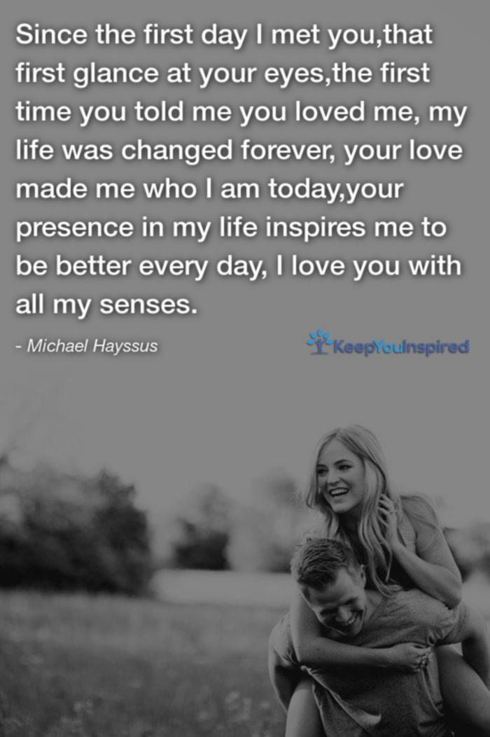 Michael Hayssuss Love Quotes For Her  Since The First Day I Met You