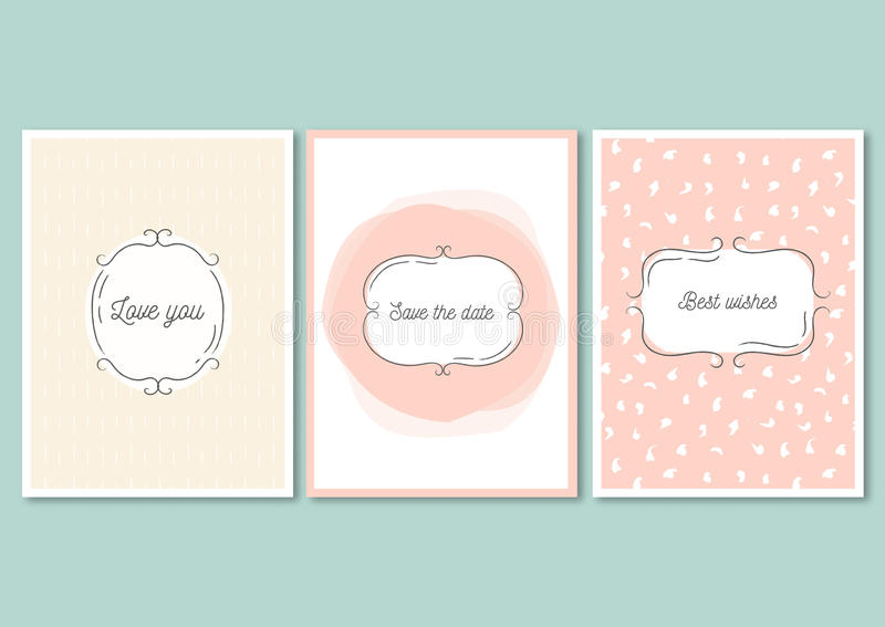 Download Set Of Invitation Cards With Hand Drawn Patterns Wedding Design Love You