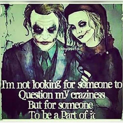Im Not Looking For Someone To Question My Craziness But For Someone To Be A Part Of It Harley Quinn