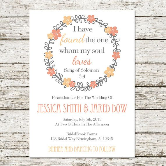 Items Similar To Bible Verse Printable Wedding Invitation Song Of Solomon   Digital File Christian Quote Love Floral Pink Peach Inspirational Card Cards