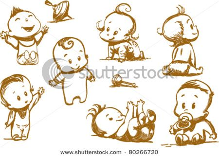 Set Of Funny Babies On A White Background By Manas_ko Via Shutterstock