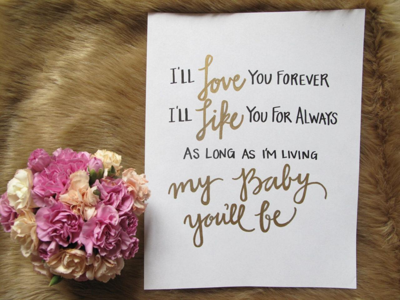 Childrens Book Love You Forever Quote By Velvetcrowndesign