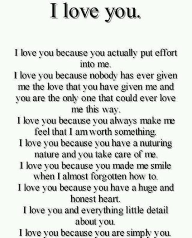 I Love You I Love You I Love You All These Things Are So True But I Love Way More Things About You Than This I Could Go On And On Your My Girl