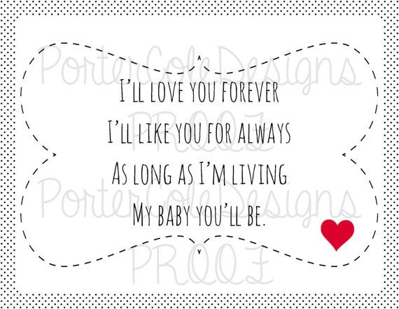 X Ill Love You Forever Childrens Book Quote Wall Hanging Poster