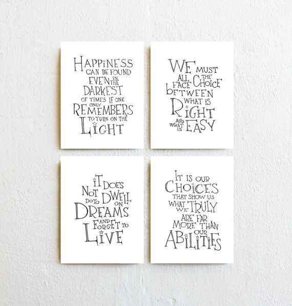 Harry Potter Print Art Albus Dumbledore Quote Set Of  Drawing Art Prints