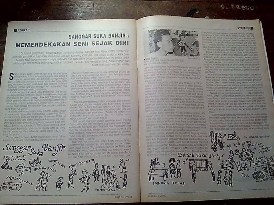 Artikel tentang Sanggar Suka Banjir yang diinisiasi oleh penyair sekaligus aktivis Widji Thukul. [dok.pribadi]