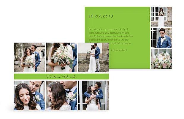 Dankeskarte Hochzeit Fotoreich  C B Herzschlag