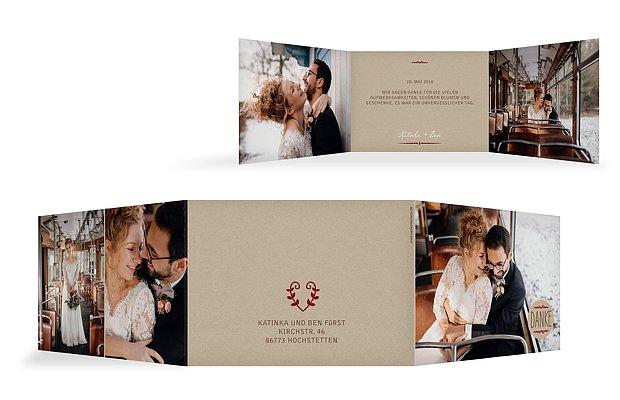 Dankeskarte Hochzeit Rustic Love  C B Fotoreich