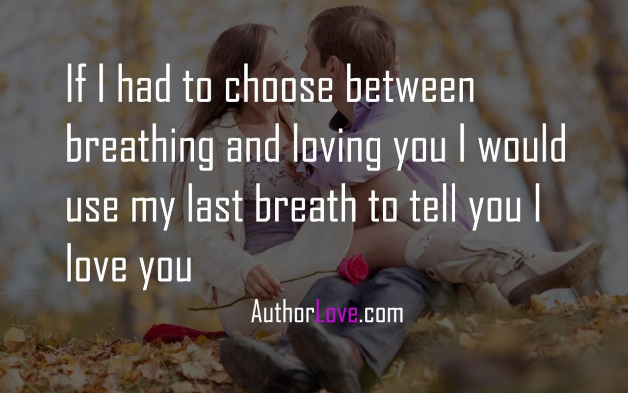 If I Had To Choose Between Breathing And Loving You I Would Use My Last Breath To Tell You I Love You