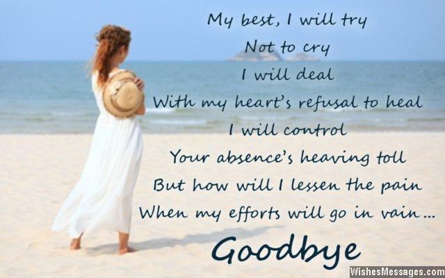 Sad Farewell And Goodbye Card Message For Husband