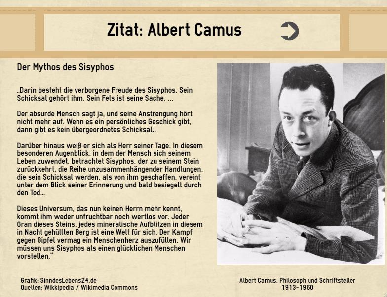 Zitat Albert Camus Mythos Sisyphos