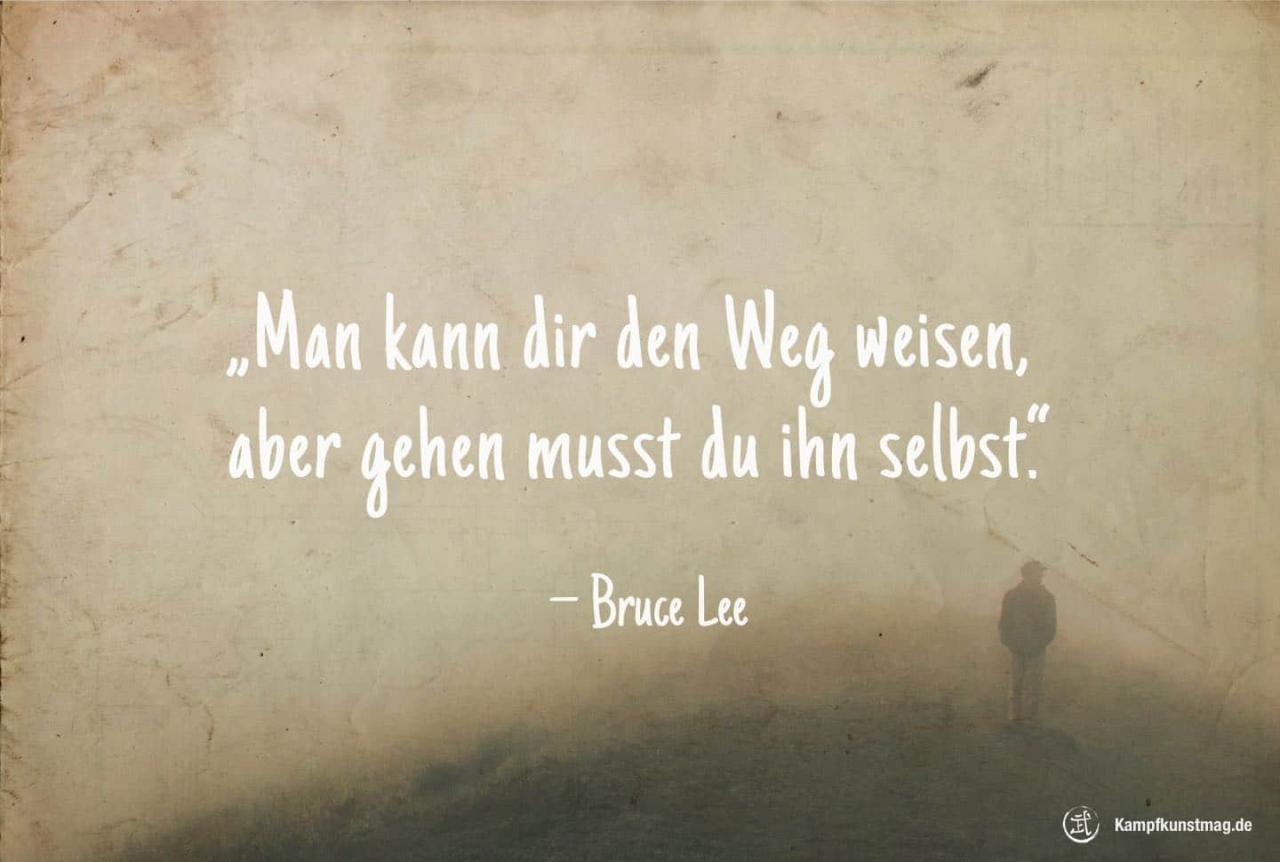 Man Kann Dir Den Weg Weisen Gehen Musst Du Ihn Selbst Bruce Lee