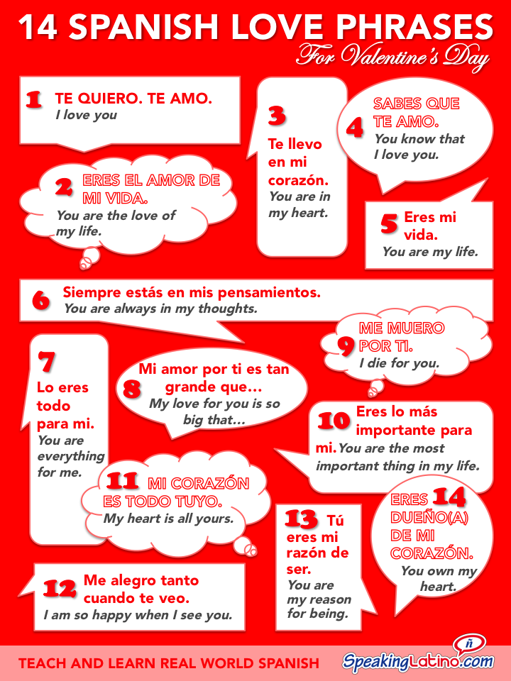 An Infographic That Features  Spanish Love Phrases With English Translations Express Your Love On Valentines Day