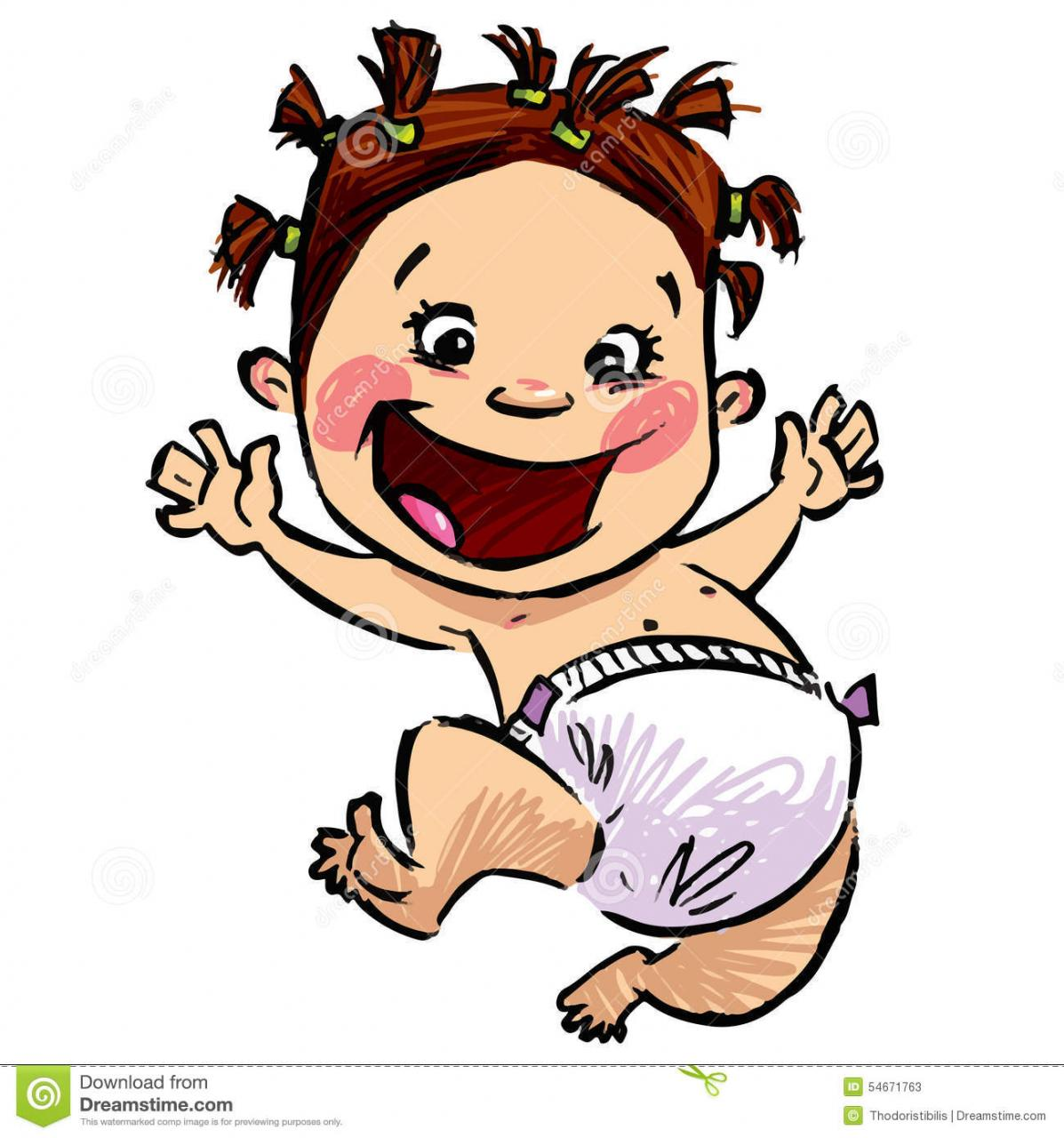 Cartoon Baby Girl With Diapers And Funny Hair Jumping High