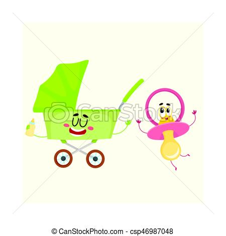 Funny Baby Cart Buggy And Dummy Pacifier Character Newborn Accessories Csp