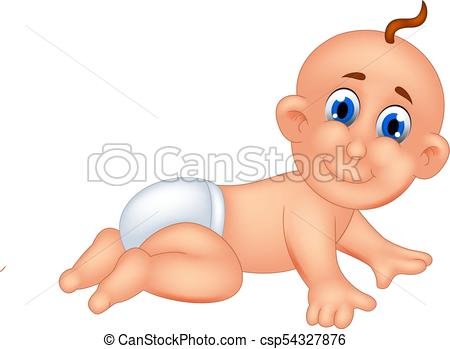 Funny Baby Cartoon Crawl With Smiling Csp