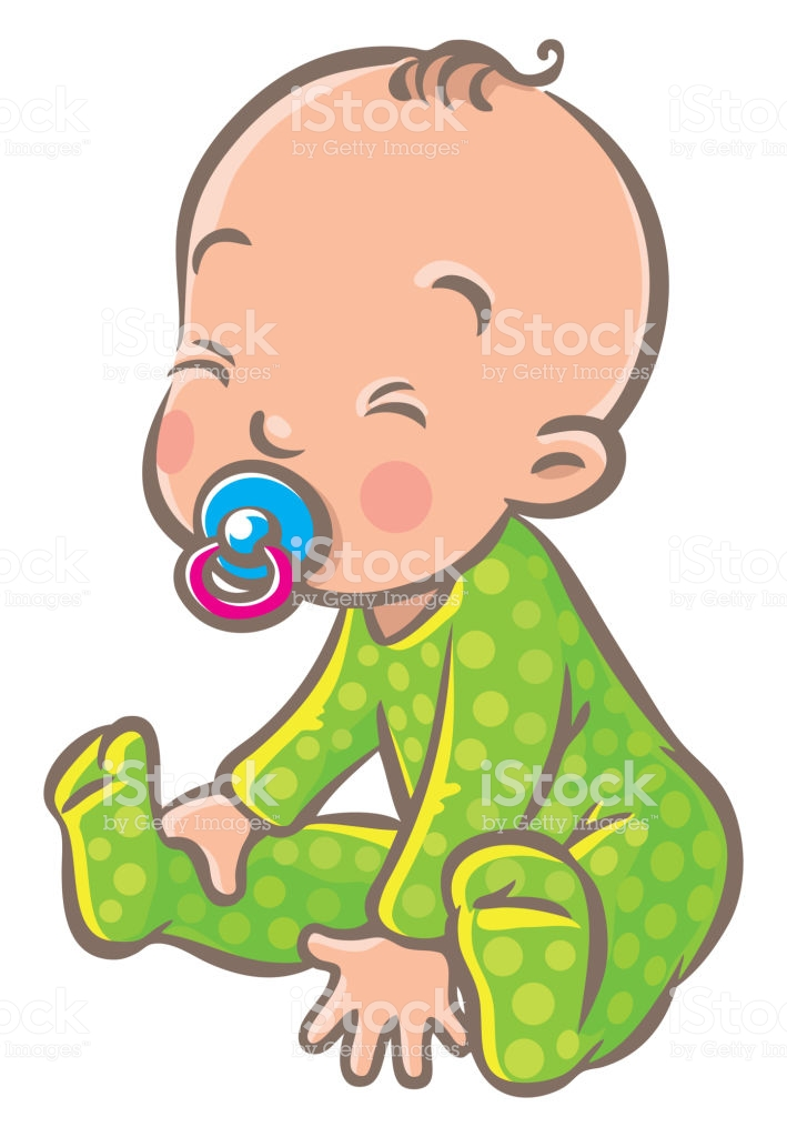 Funny Small Baby Sitting With Dummy Royalty Free Funny Small Baby Sitting With Dummy Stock