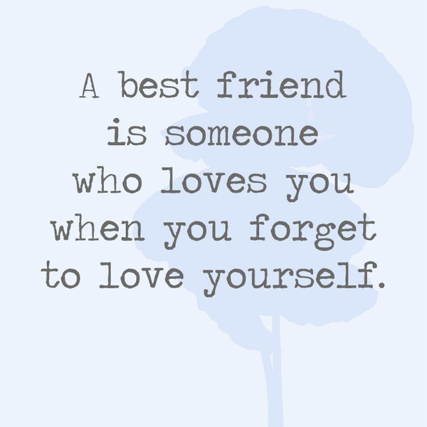 A Best Friend Is Someone Who Loves You When You Forget To Love Yourself